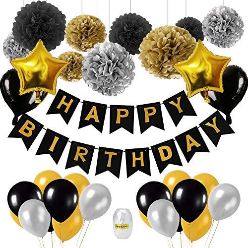 Decoración de cumpleaños en negro y dorado, 18ª. Decoración de cumpleaños con globos. Negro, dorado. Globos de confeti y pompones de papel tisú para mujeres. Hombres 18 °. ° 30 ° 40 ° 50 ° 60 ° 70 °