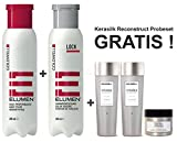 Goldwell Elumen Haarfarbe [Tq@all Türkis] 200ml + 250ml Lock Versiegelung + Kerasilk Reconstruct Shampoo 30ml + Conditioner 30ml + Maske 25ml