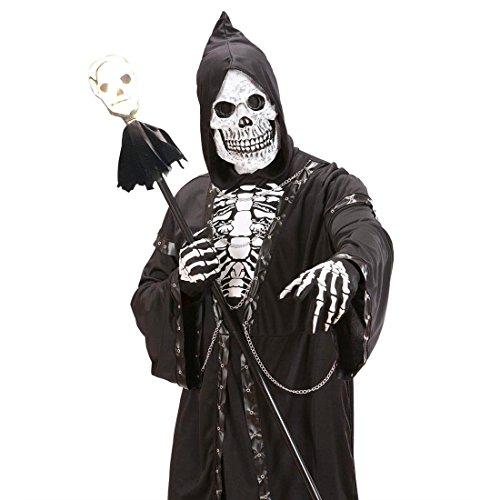 Leuchtender Totenkopf Stab Skull Zepter 120 cm Skelett Schädel Stock Totenschädel Knaufstock Halloween Leuchtstab Sensenmann Kostüm (Leuchtstäbe Halloween Kostüm)