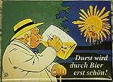 Durst wird durch Bier erst schön Blech Magnet Flach Neu 6x8cm VM141