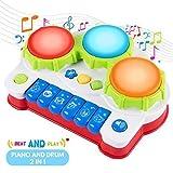 SGILE Spielzeug Klavier Keyboard Kinderpiano mit Trommel, Babyspielzeug mit Musik und Lichter, Elektrisches Musikspielzeug , Musikalische Früherziehung Geschenk für Babys und Kleinkinder