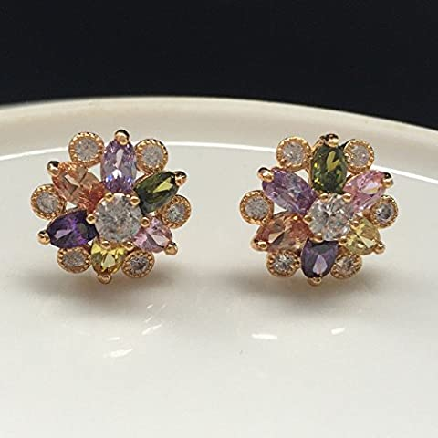 Mode elegante Frauen Gold Silber Zirkonia Blume Ohr Stud Ohrringe, Multi-color Marquise CZ