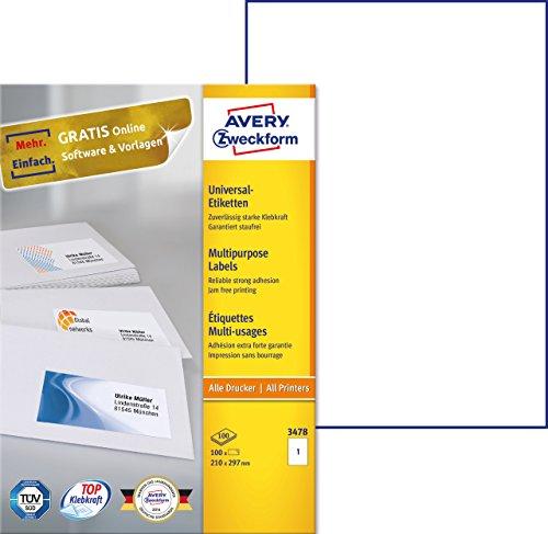 einfacher kopierer AVERY Zweckform 3478 Universal-Etiketten (A4, Papier matt, 100 Etiketten, 210 x 297 mm, 100 Blatt) weiß