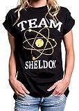 MAKAYA Top Manga Corta Estilo Oversize - Team Sheldon - Camiseta Big Bang Theory para Mujer Negro S