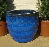 Snail Blumentopf 22 cm Durchmessser, blau glasierte Keramik Steingut Garten Deko Blumenkübel Pflanztopf
