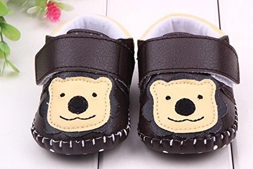 YICHUN Bébé Chaussures de Premier Pas Chausson Petit Ours Chaussures de Loisir Chaussures Souples (Longueur de Semelle:12CM, Marron Foncé) Marron Foncé