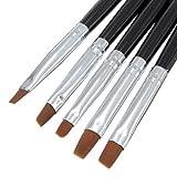 Asien 5Pcs winzigen Nagel Kunst Acryl UV-Gel Stift malen flache Pinsel Set Tool