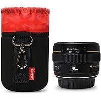 Bolso de Lente pequeño Negro Gancho de Metal Engrosamiento de Felpa Suave de Neopreno para Lente de cámara SLR para Nikon Canon Sony