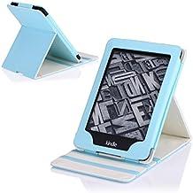 MoKo Kindle Paperwhite Funda - Premium Vertical Flip Smart Cover Case con Auto-Sueño / Estela para Amazon All-New Kindle Paperwhite (Compatible con 2012, 2013, 2015 y 2016), Azul Claro