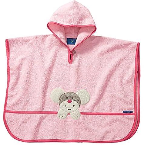 Morgenstern, hochwertiger Frottee - Bade - Poncho aus 100 % Baumwolle, Farbe rosa Motiv Maus, Größe one size (ca. 1 bis 3 Jahre)