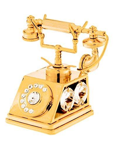 Telefono placcato oro 24 k, con cristalli swarovski, statuina