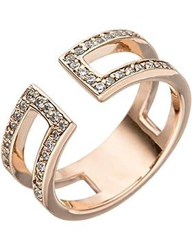 Dreambase Damen-Ring rotvergoldet Silber 38 Zirkonia