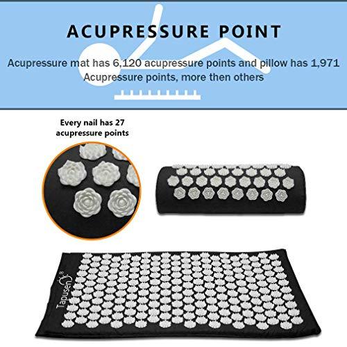 Tapusen Tapis d'acupuncture Lotus Massage Tapis de yoga Coussin de massage de remise en forme Tapis d'acupuncture Tapis de massage Tapis d'acupression et coussins (Noir)