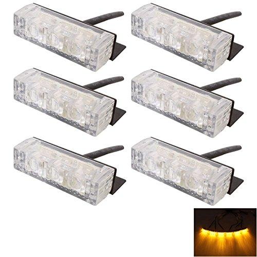 Luci di alta qualità, 6W 450LM 6 x 3-LED gelbes Licht 577nm Auto Strobe Flash-Warnleuchte Signal Lampe, DC 12V Flash-dc Strobe