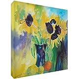 Feel Good Art Original Gallery Envuelto caja Panel Frontal rígido con lienzo (76x 76x 4cm, XL), Happy Sun Loving), diseño de girasoles