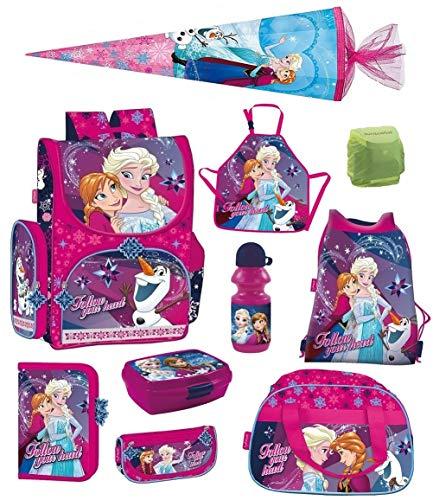 Disney Eiskönigin Schulranzen Set 10-TLG. mit Federmappe, Sporttasche, Schultüte 85cm, Regenschutz Pink Frozen PL