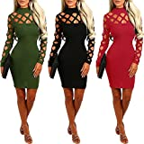 Minetom Damen Halsband Hoch Hals Langarm Lace Up Hollow Out Slim Fit Bodycon Kleider Club Party Cocktail Kleid