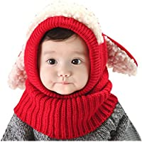 Tuopuda Baby Girls Boys Toddler Winter Hat Scarf Set Cutest Earflap Hood Warm Knit Hat Scarves with Ears Snow Neck Warmer Skull Cap for Kids 6-36 Months (red)