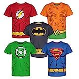 DC Comics Camiseta con los Superhéroes de la Justice League - Batman, Superman, Flash, Green Lantern y Aquaman para Niños (Pack de 5), Multi 7 Años