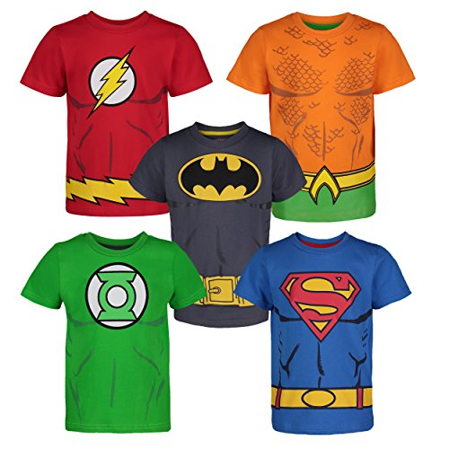 DC Comics Justice League T Shirt Jungen Superhelden - Batman Superman The Flash Green Lantern Aquaman (5er Pack), Mehrfarbig 7 Jahre (Batman Muskel Kostüm)