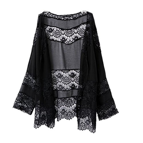 Sannysis Damen Lace Splicing Hohl Chiffon Kimono Cardigan (M) (Lace Cardigan Detail)