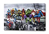 Marvel & DC Superheroes déjeuner sur Un Gratte-Ciel : Featuring Captain America, Iron Man, Batman, Wolverine, Deadpool, Hulk, Flash et Superman par Dan Avenell - montée sur Toile, 60x80