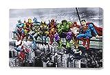 Marvel & DC Superheroes déjeuner sur Un Gratte-Ciel: Featuring Captain America, Iron Man, Batman, Wolverine, Deadpool, Hulk, Flash et Superman par Dan Avenell-montée sur Toile, 60x80