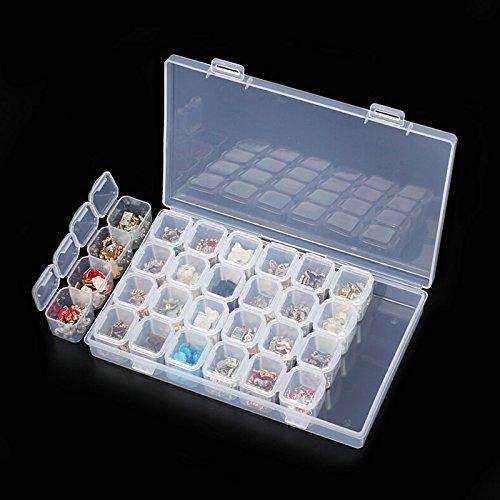 Rokoo 28 Slots Nail Art Boîte De Rangement En Plastique Transparent Présentoir Organisateur Titulaire Pour Strass Perles Anneau Boucles D'oreilles
