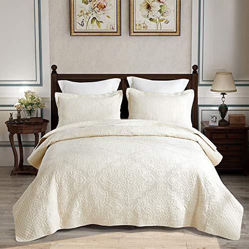 Alicemall set copriletto da letto con 2 federe trapunta leggera - in 100% cotone 230cm x 250cm colore caffé