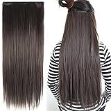 Yahee Perücke Haarverlängerung Haarteile Haarextension für Damen Clip-in weiche glatt gewellt Locken (Glatt 58cm_Dunkelbraun)