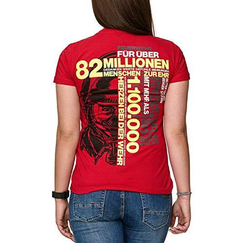 82 MILLIONEN Menschen ZUR EHR Feuerwehr Frauen T-Shirt, Größe:M (Jersey Fine T-shirt Tag)