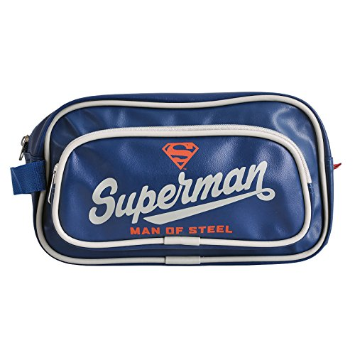 Sac à cosmétiques trousse de toilette Superman Man of Steel grand logo Superman bleu