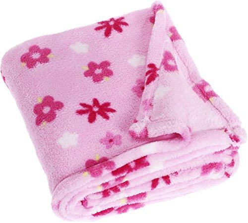 Playshoes Baby - Mädchen Accessoires Set 301703 Fleece - Decke, Babydecke, Kuscheldecke mit Blumen, Maße ca. 75 x 100 cm, Öko-Tex Standard 100, Gr. one size, Rosa (900 original )