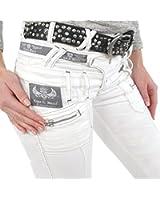 Coole Damen Jeans von Cipo & Baxx weiß mit dreifachem Bund