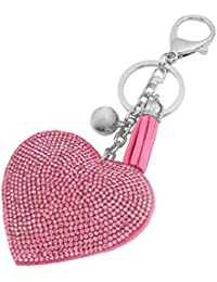 Llavero Colgante Anillo Cadena Clave Corazón Blando Diamantes de Imitación Decoración Regalo