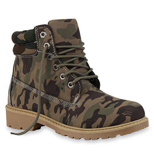 UNISEX Damen Herren Worker Boots Outdoor Schuhe Schnürstiefel Camouflage Camouflage