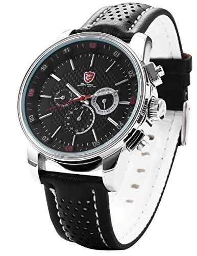 Shark Herren Armbanduhr Analog Zwei Zeitzonen 6 Zeiger Uhr Leder Band SH092
