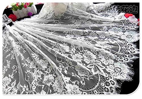 b6d0c3150e62 chantilly pizzo floreale vestito da sposa matrimonio fiore tessuto Scallop  Trim applique abbigliamento tende nero