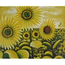 Aceite de pintura Bodegón Flores Girasoles de Galerie. Pintado a mano 60 ...