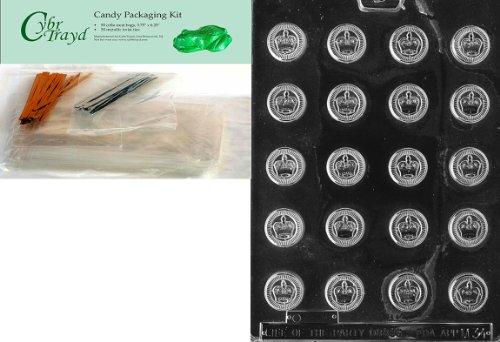 ück KRONEN verschiedene Schokolade Candy Form mit Verpackung Paket von 50Cello Taschen, 25gold und 25silber Twist Krawatten und Schokolade Formen Anweisungen ()