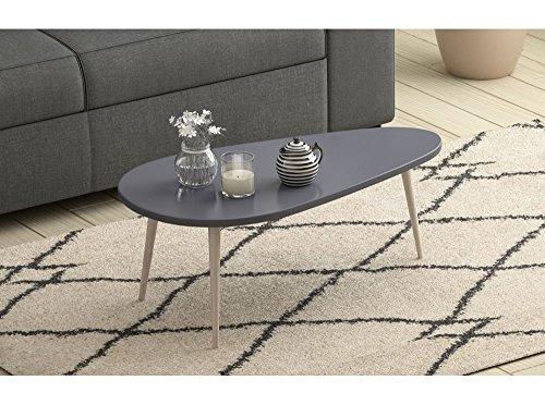 Usinestreet Table basse scandinave WOODY laquée avec pieds en bois massif - Couleur - Gris