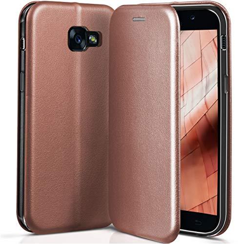 ONEFLOW Samsung Galaxy A5 (2017) | Hülle Rose-Gold mit Karten-Fach 360° Business Klapp-Hülle Handytasche Kunst-Leder Handyhülle für Samsung Galaxy A5 2017 Flip Case Cover Tasche Schutzhülle
