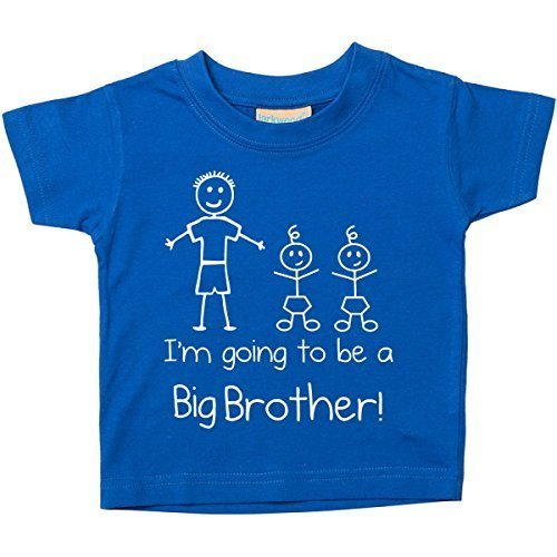 I'monate Gehe Werdende A Großer Bruder Zwillinge Blau T-shirt Baby Kleinkind Kinder Verfügbar in Größen von 0-6 Monate Neu Baby Bruder Geschenk – Blau, Baumwolle, 92-98