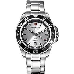 Swiss Military Men's 43mm Steel Bracelet & Case Quartz Silver-Tone Dial Analog Watch 06-5221.04.009