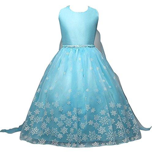 Canberries® Prinzessin Kostüm Kinder Glanz Kleid Mädchen Weihnachten Verkleidung Karneval Party Halloween Fest (130, #05 Kleid)