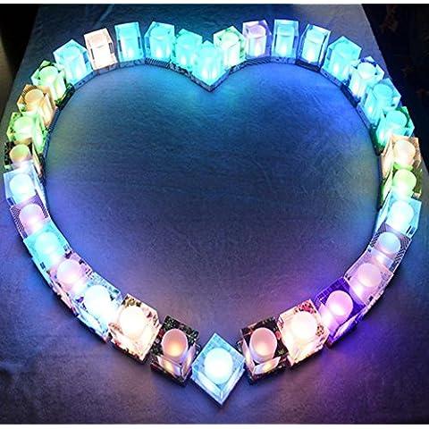 MJEL®Solare del LED luci blu e bianco porcellana piedistallo colorato cristallo portacandele...
