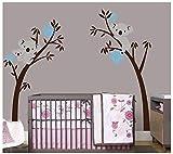 BDECOLL Baum Wandtattoo/Kinderzimmer Wandsticker/Cartoon Tiere Koala Wandsticker, Babyzimmer Kinderzimmer Entfernbare Wandtattoos Wandbilder(Black branch Blue flower)