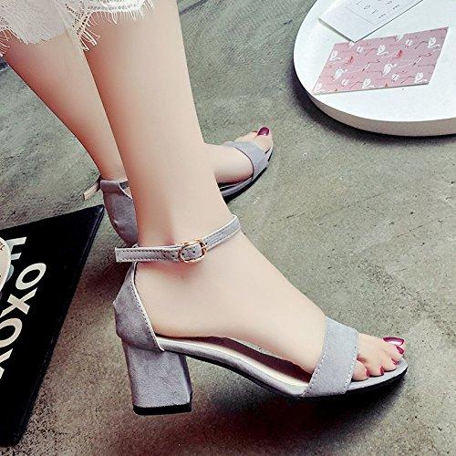 XY&GKDamen Sandalen Sommer Tau Toe Schnalle mit Rom High-Heeled Schuhe 34 grey
