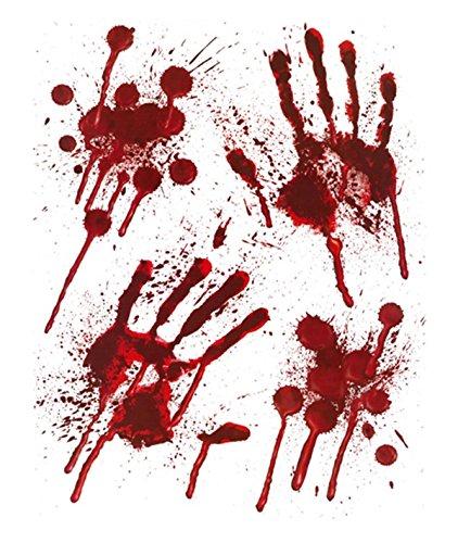 Halloween Haus (Halloween Blutige Hände Fensteraufkleber - blutige designs HAND MUSTER mit)