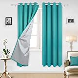 Deconovo Eyelet Curtains Ready Made Room Darkening Thermal Insulated Ring Top Blackout Curtains for Bedroom with Backside Silver Backing 46 Width x 72 Drop Turquoise 1 Pair
